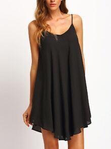 Spaghettiträger-Kleid mit asymmetrischem Saum -schwarz