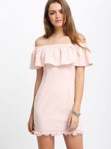 Schulterfreies Etuikleid mit Rüsche Detial und Franse -rosa