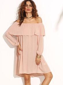 schulterfreies Kleid mit Rüschen - rosa