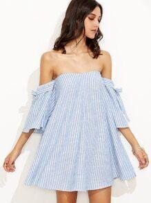 schulterfreies Kleid Vertikale Streifen - blau