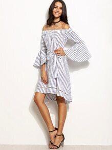 schulterfreies Kleid Streifen mit Gürtel - weiß