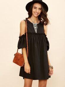 Kleid Cut-Outs am Schulter Rüschen - schwarz