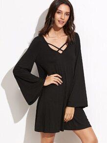 Kleid Doppel Lattice V-Ausschnitt Bellärmel- schwarz