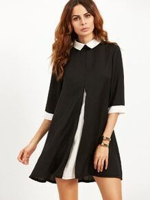 Swing Kleid  Kontrast Kragen und Manschette - schwarz