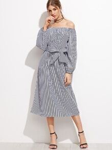 schulterfreies Kleid Leibbinde mit vertikalen Streifen