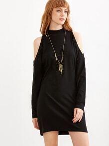 Cut-Outs Kleid Mock Kragen -schwarz