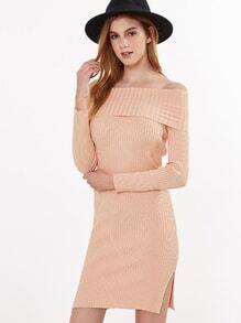 Falten Pulloverkleid seitlich Schlitz Schulterfrei-rosa