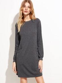 Sweatshirt Kleid langarm vorne Taschen-grau