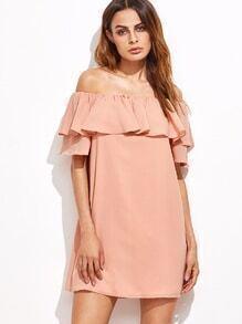 Rüschen Kleid Schulterfrei-rosa