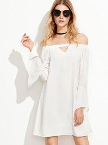 Kleid Schulterfrei Bellärmel-weiß