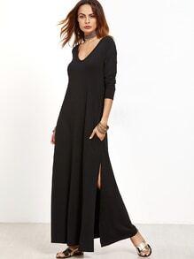 Maxi Kleid mit Tiefem V-Ausschnitt Schlitz Seitlich-schwarz