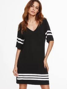 Black V Neck Striped Trim Tee Dress