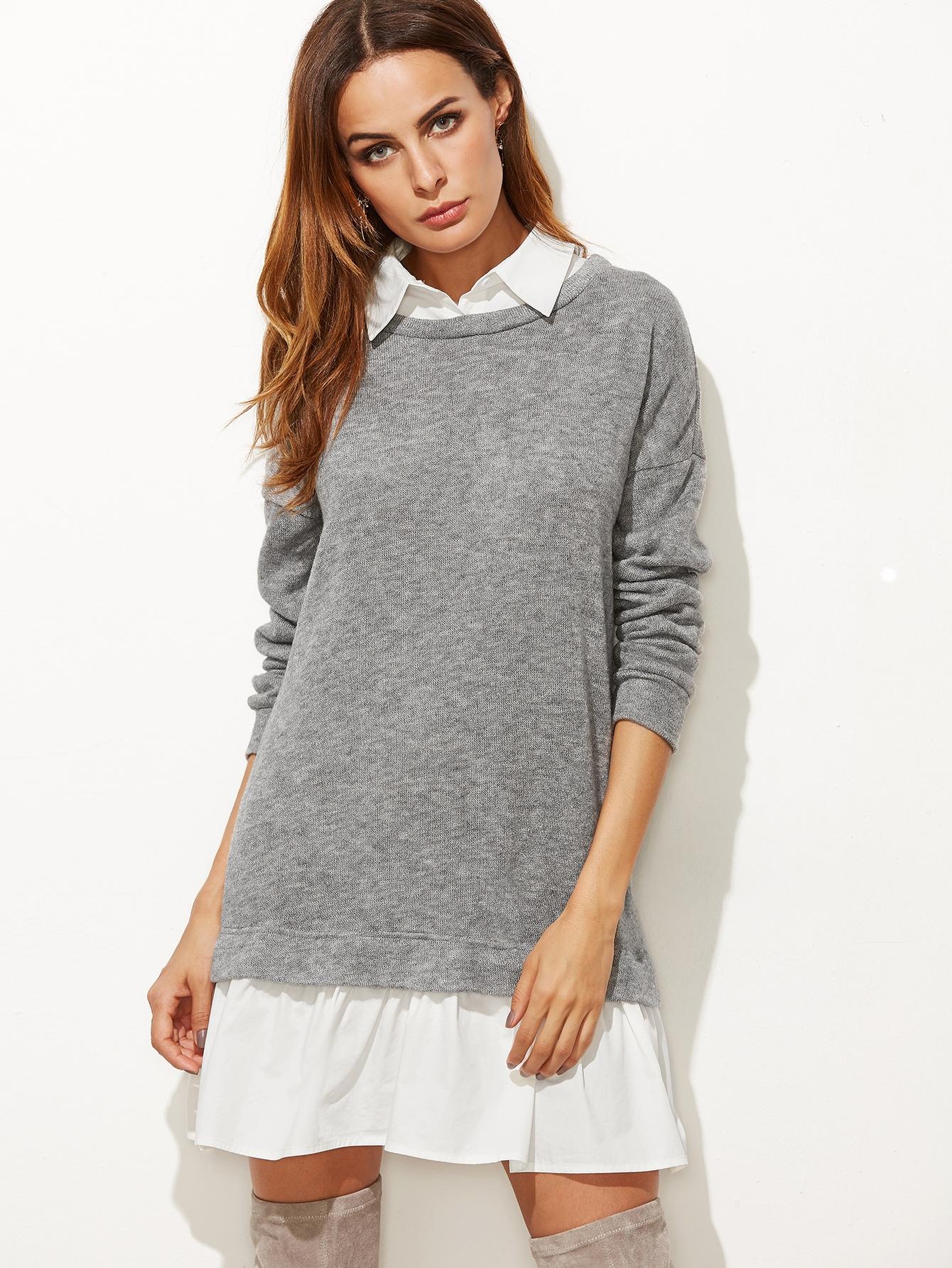 2 in 1 Sweatshirt Kleid Kontrast Kragen und Saum-hell