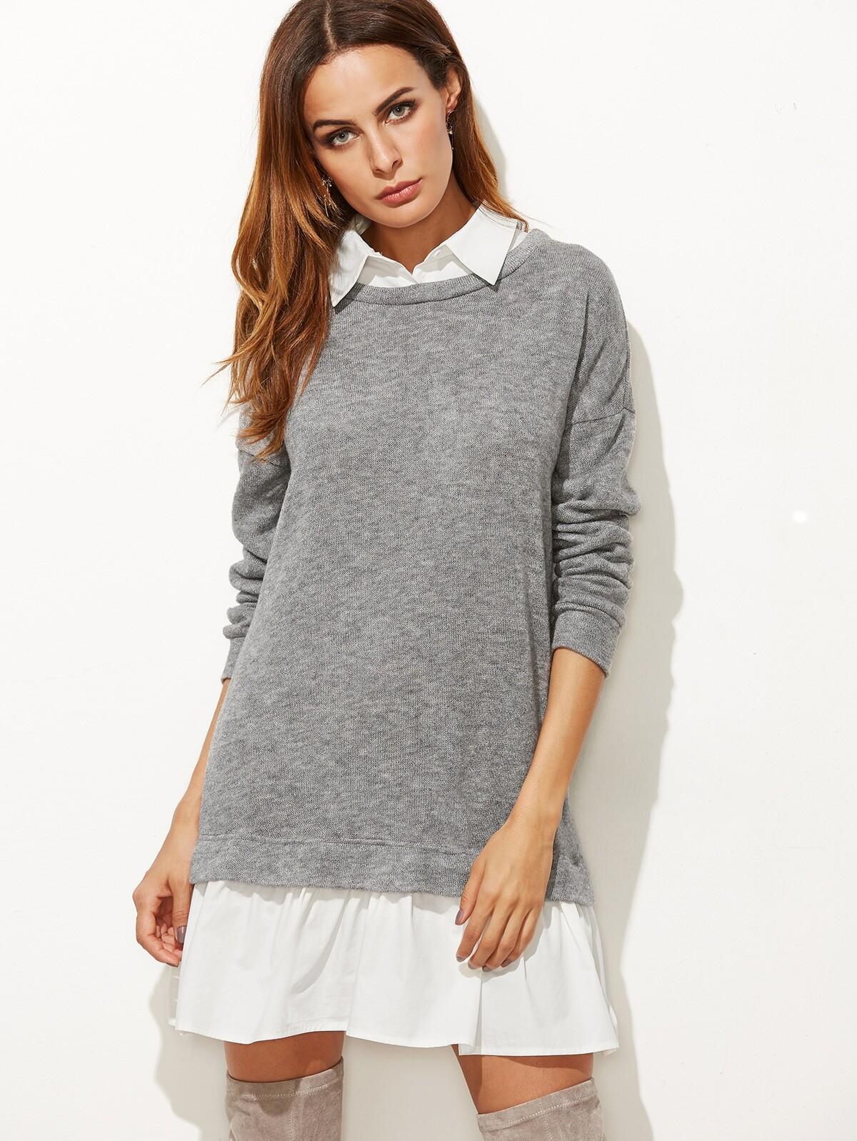 暖灰色 對比色的頸圈 下擺 2合1 T恤衫 洋裝