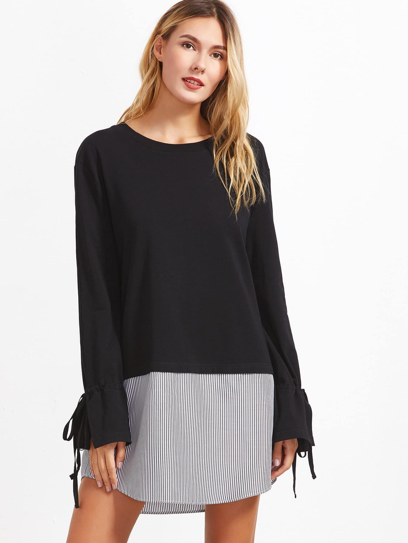 Black Contrast Striped Trim Drawstring Cuff Dress