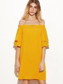 Kleid Schulterfrei Bellärmel-gelb