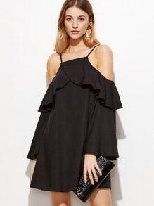 Kleid Rüschen Saum Cut-Outs am Schulter-schwarz