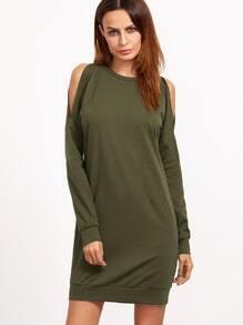 Sweatshirt Kleid Cut-Outs Schulter-oliv grün