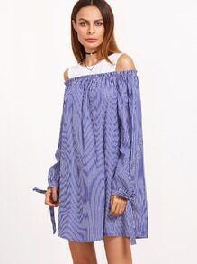 Kleid mit Streifen Cut-Outs Kontrast Schulter Schleife Ärmel-blau und weiß