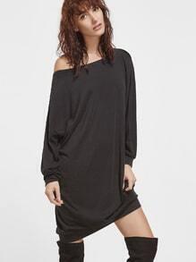 Übergroße Sweatshirt Kleid Asymmetrische Schulter-schwarz