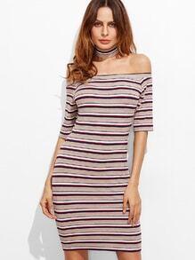 Kleid mit Streifen Schulterfrei Zopfmuster-bunt