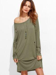 bekümmerte Tee Kleid Rundhals Drop Schulter-oliv grün