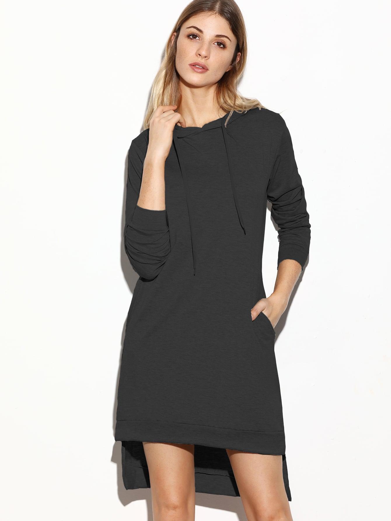 Sweatshirt Kleid mit Kapuzen Schlitz Seitlich Vorne Kurz Hinten Lang-schwarz