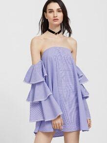 Kleid Kontrast Spitze Saum Stüfig Rüschen Ärmel Schulterfrei-blau