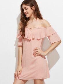 Crinkle Kleid Kreuz Vorne Rüschen Cut-Outs am Schulter-rosa