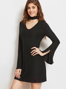 Black Cutout Choker Neck Split Cuff Dress
