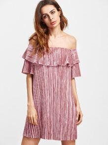 Pink Ruffle Off The Shoulder Pleated Velvet Dress
