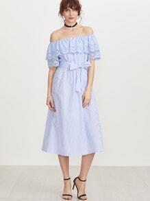 Blau gestreift aus der Schulter Öse bestickt Detail Gürtel Kleid