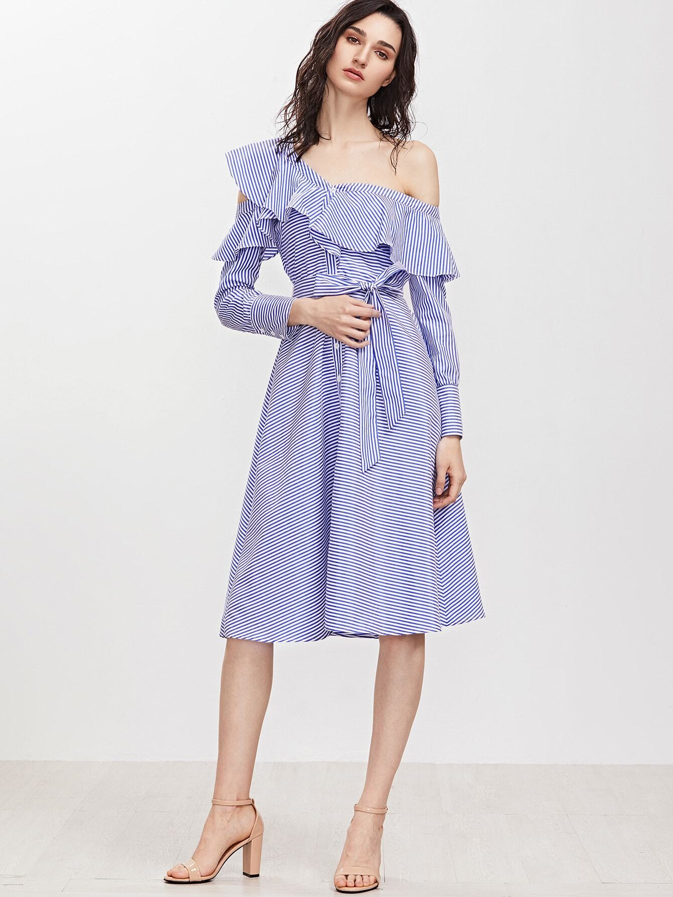 Blue Striped Asymmetric Ruffle Off The Shoulder Belted Shirt Dress