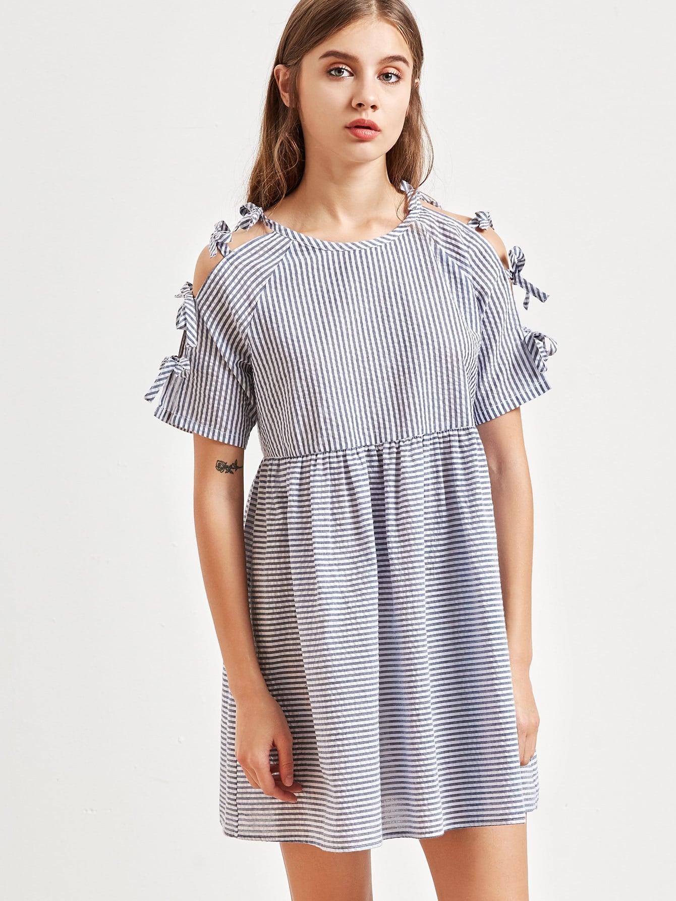 Blue Striped Tied Split Sleeve Babydoll Dress