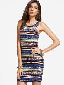 Mehrfarben Stammes- Druck-Behälter-Kleid