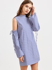 Offene Ärmel Kleid mit Rüschen und Spitze Schulterstreifen - blau