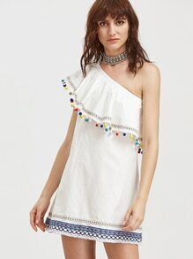 White Embroidered Tape And Pom Pom Detail One Shoulder Dress