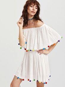 White Pom Pom Trim Off The Shoulder Ruffle Dress