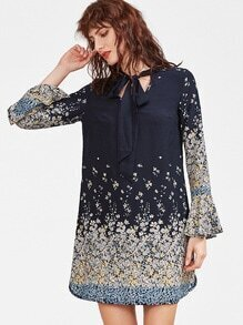 Navy Floral Print Tie Neck Bell Sleeve A Line Dress
