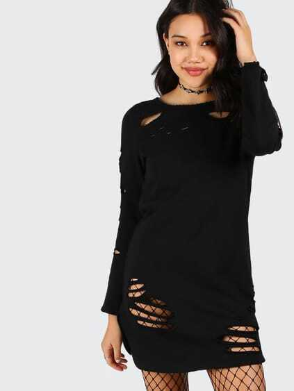 Black Long Sleeve Distressed Tee Dress