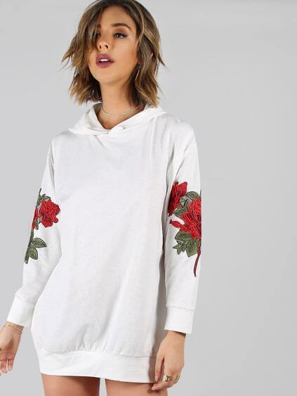 White Drop Shoulder Oversized Hoodie Dress