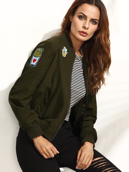 Army Green Applique Long Sleeve Jacket