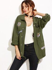 Utility-Jacke mit Flicken Drop Schulter - olivgrün