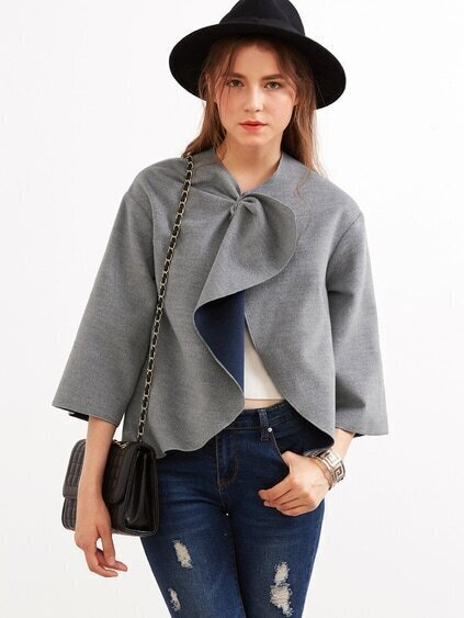 Grey Knotted Collar Kimono Sleeve Double Face Coat