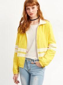 Jacke mit Streifen Reißverschluss -gelb