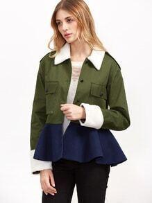 Jacke mit Schößchen Saum Taschen -kontrastfarbe