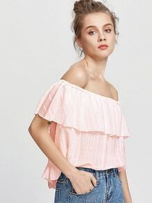 Flounce Layered Neckline Striped Blouse