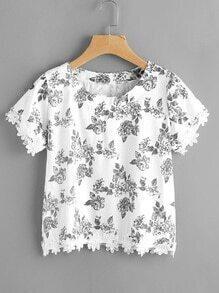 Ditsy Print Blumenspitze Hem Random Bluse