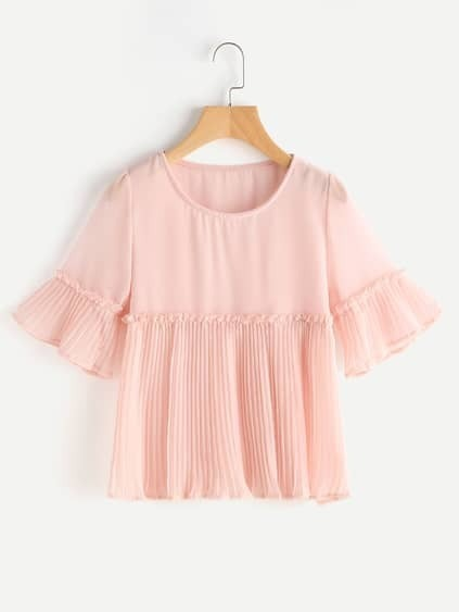 Bell Sleeve Pleated Smock Chiffon Blouse