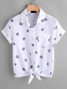 Elephant Print Tie Front Cuffed Shirt With Chest Pocket